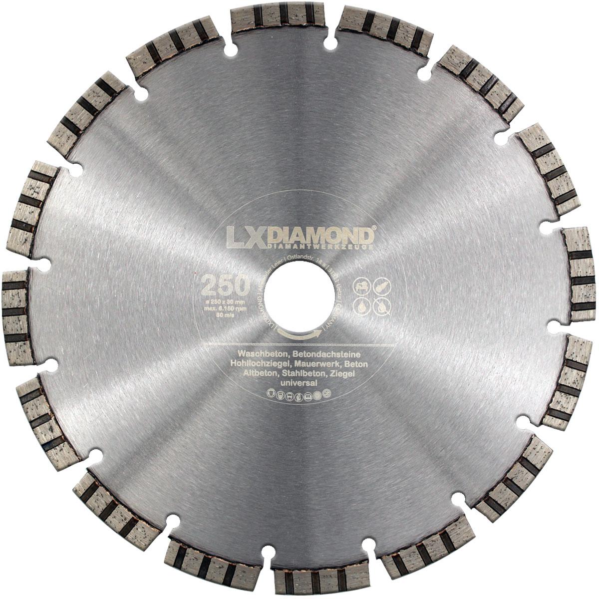 Diamanttrennscheibe Ø 250 x 30 Trennscheibe Stahlbeton-Mauerwerk Universal